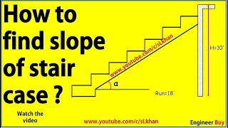 How to find slope of stair case - civil engineering- engineer boy