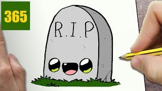 HOW TO DRAW A TOMB HALLOWEEN CUTE, Easy step by step drawing lessons for kids