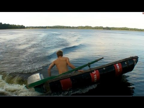 DIY Boat Made Of Four Oil Barrels 2 Outboard Motor Attached