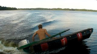 DIY boat made of four oil barrels 2 (outboard motor attached)