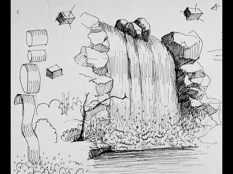 Pen ink drawing tutorials how to draw a waterfall