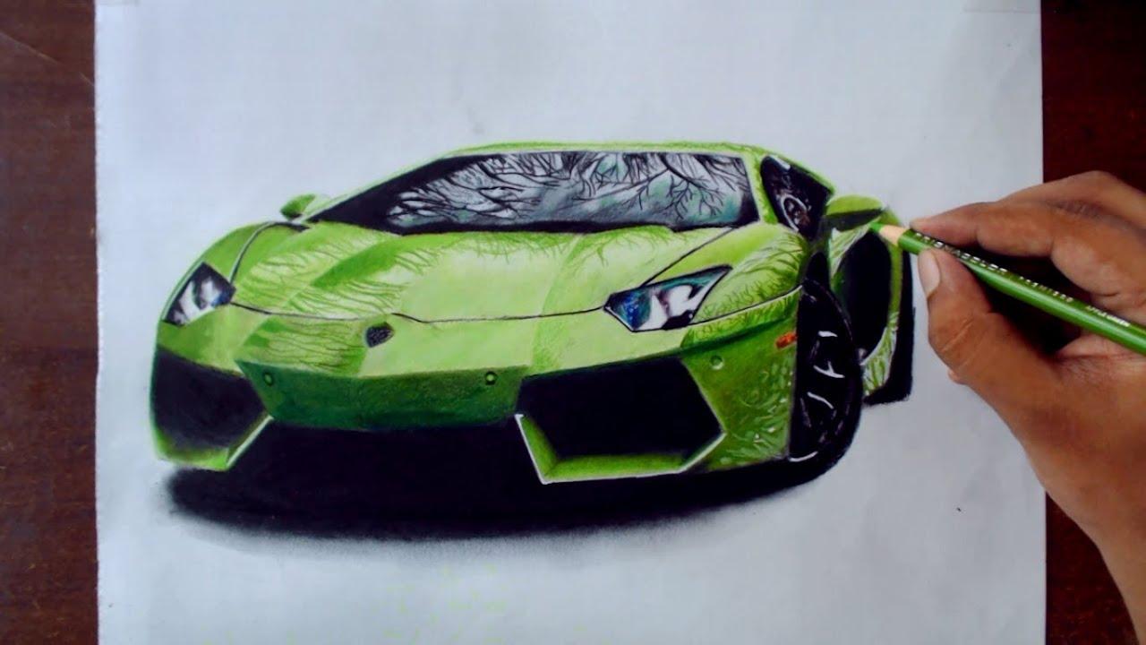 Drawing cars 1 lamborghini aventador prismacolor pencils