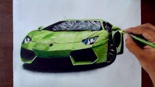 Drawing Cars 1 - Lamborghini Aventador - Prismacolor pencils