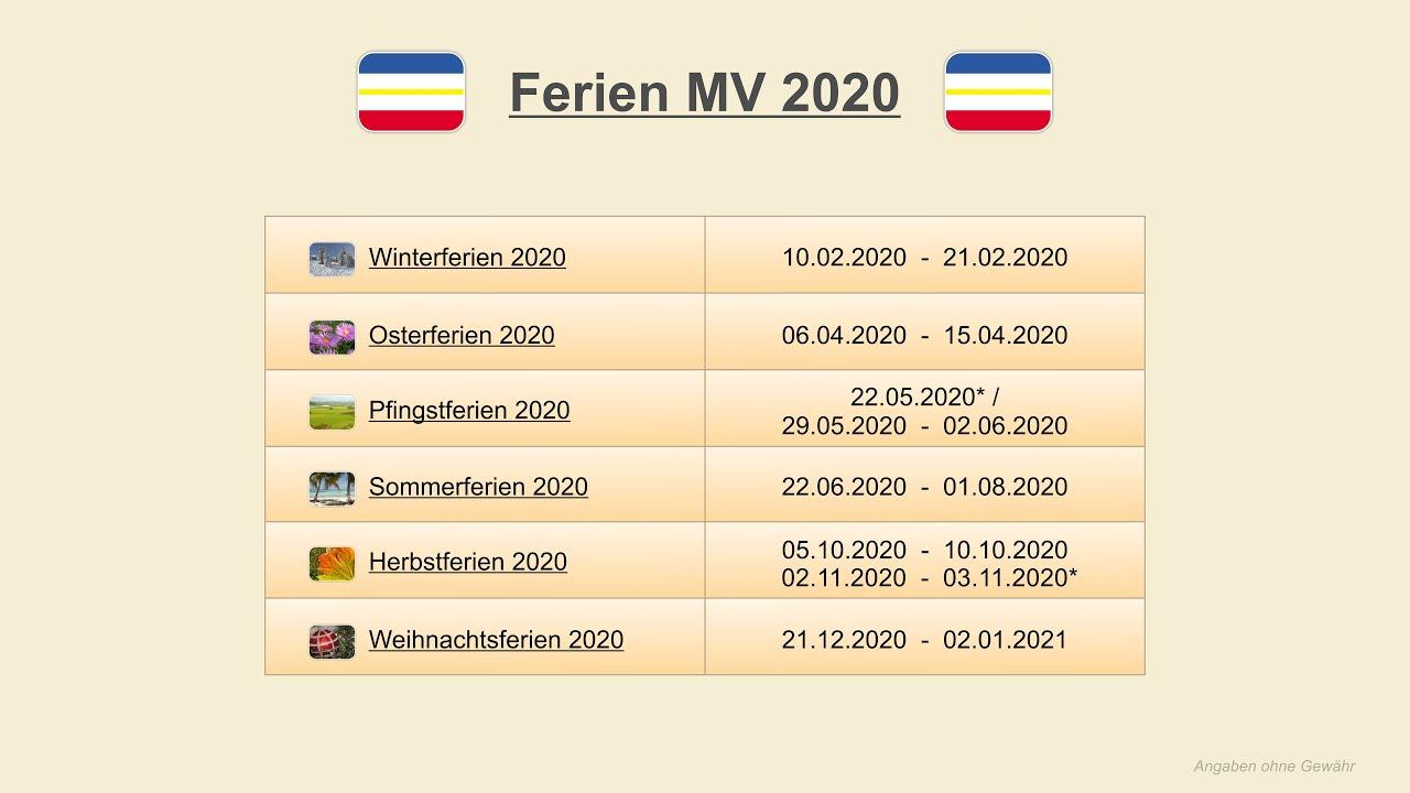 Ferienkalender 2020