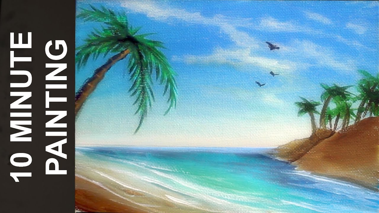 painting tropical beach seascape