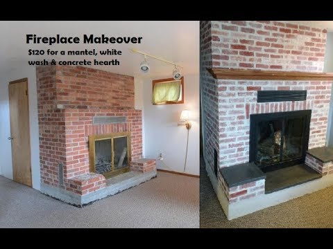 Fireplace Mortar Wash & Concrete Hearth Makeover