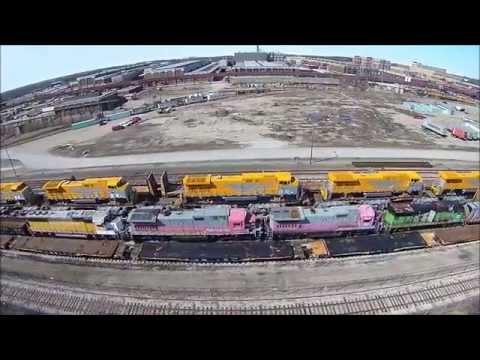 G.E. Transportation, train locomotive factory, Erie, PA  350 QX3 ap drone video 3-29-15