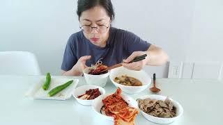 ♡혼밥 먹방♡ 맛있는 된장국/흑미밥/오이고추/돼지고기/…