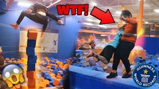 BREAKING TRAMPOLINE WORLD RECORDS AT SKYZONE! (FIGHTING WORKER)