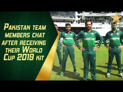 Pakistan team members chat after receiving their World Cup 2019 kit