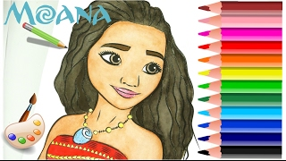 Disney Princess Moana Drawing and Coloring Book Pages Painting for Kids WaterColor House Toy Videos