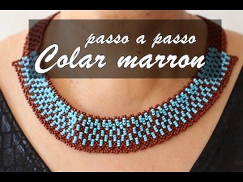 NM Bijoux - Colar Marron/Azul - passo a...