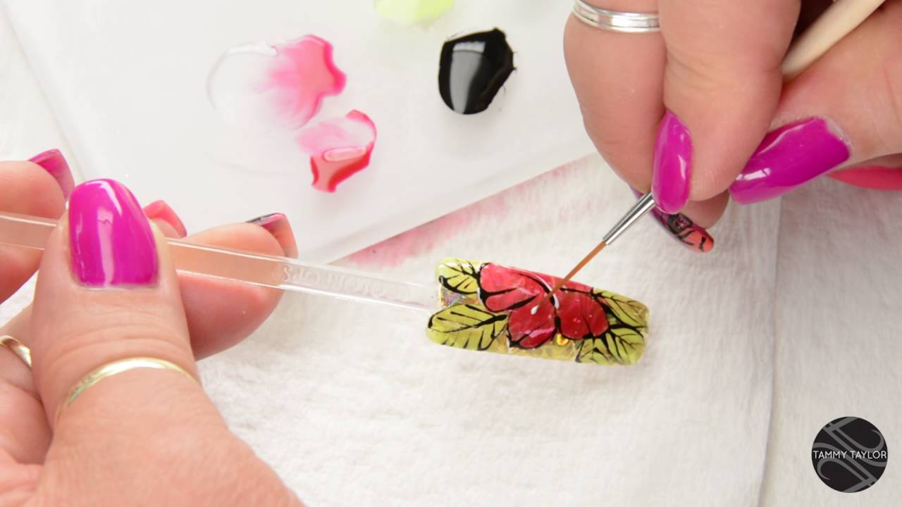 Tammy Taylor Hibiscus Flower Nail Design by Gisela Marti