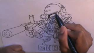 Sargent Ghost Call of Duty Speed Drawing