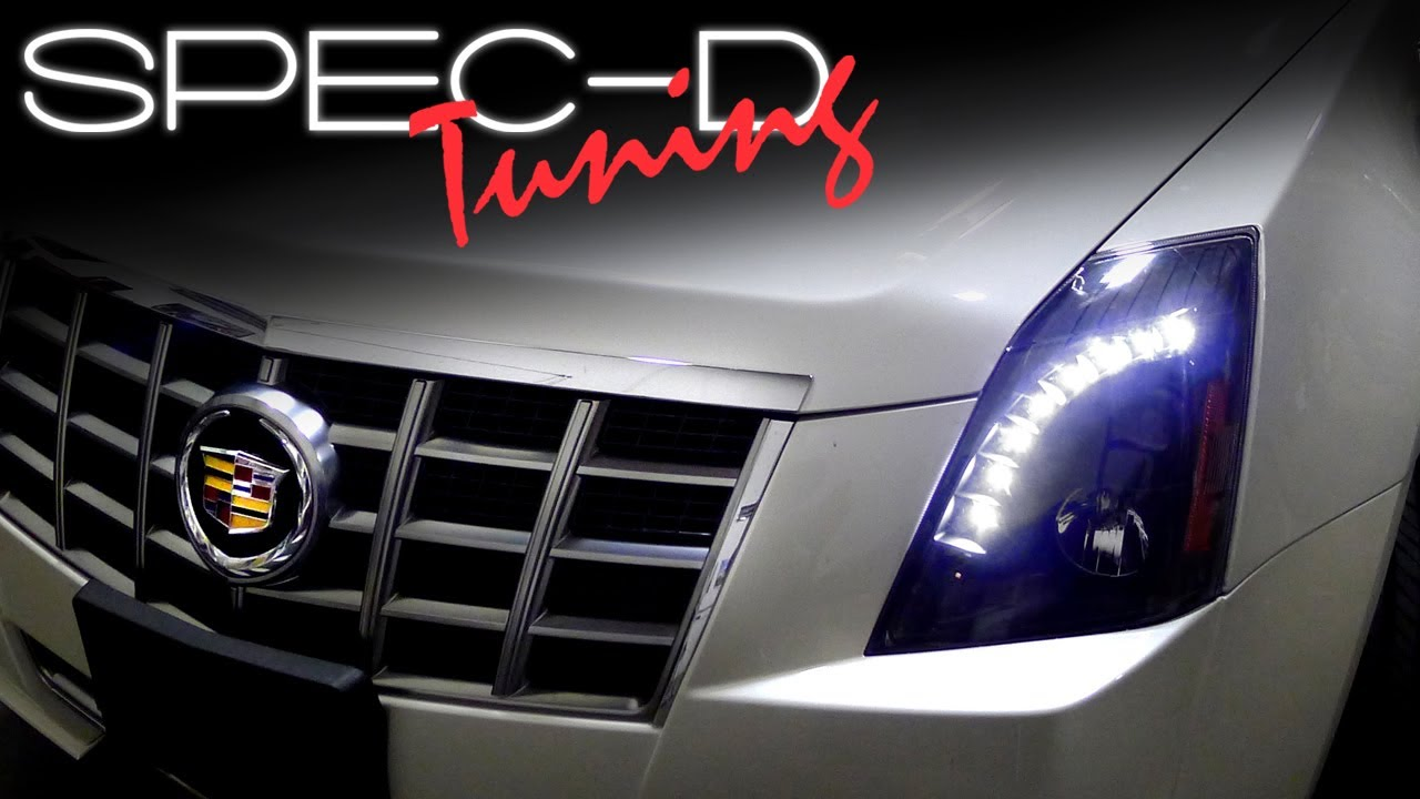 hight resolution of specdtuning installation video 2008 2013 cadillac cts projector headlights youtube