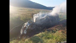 Сгорели в кювете: в жёстком ДТП погиб мужчина в Туапсинском районе видео
