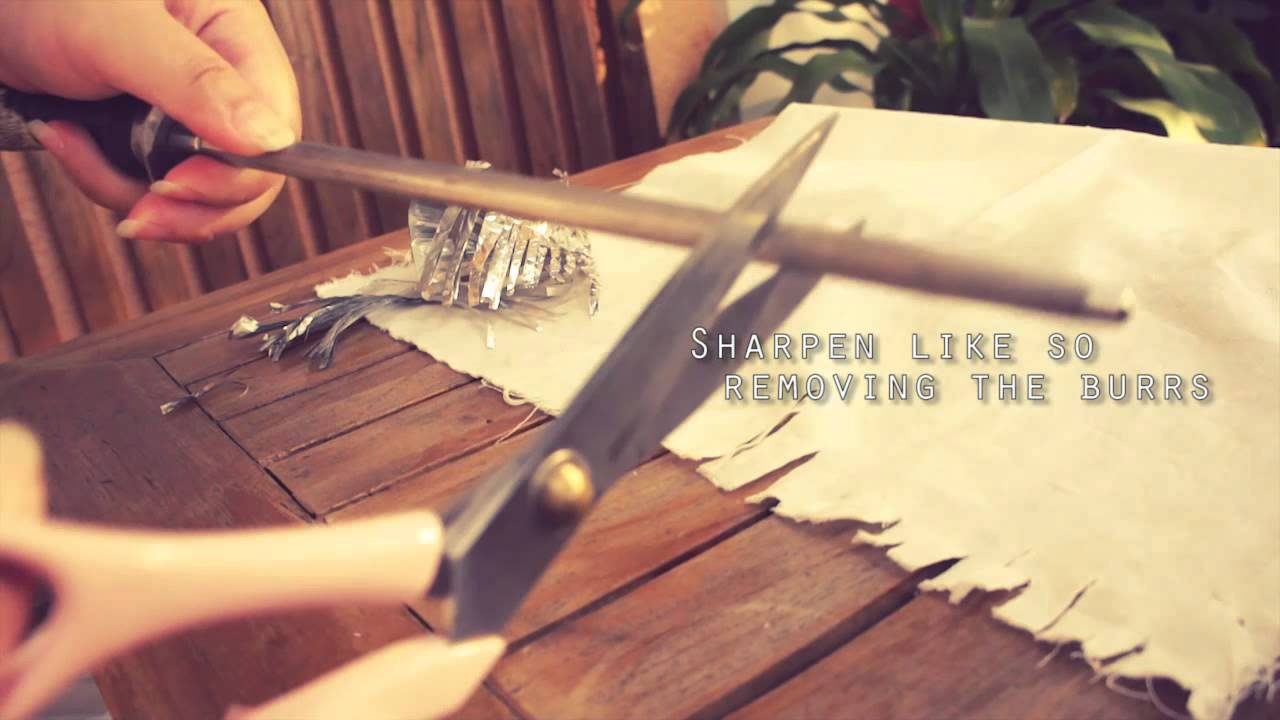 Essentially, scissors are two knives connected at a pivot point. So not surprisingly, you can sharpen scissors just as you would kitchen knives, with a couple of simple tools and some practice.