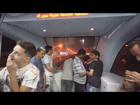United Arab Emirates, Dubai, Metro night ride from First Abu Dhabi Bank to Dubai Internet City