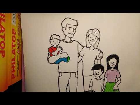 Bức tranh vẽ về đề tài gia đình gồm nhiều thành viên