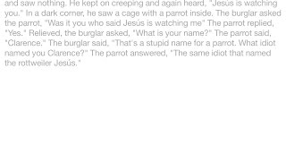 Jokes - Late One Night A Burglar Broke Into A House And While He Was Sneaking Around He Heard A Voic