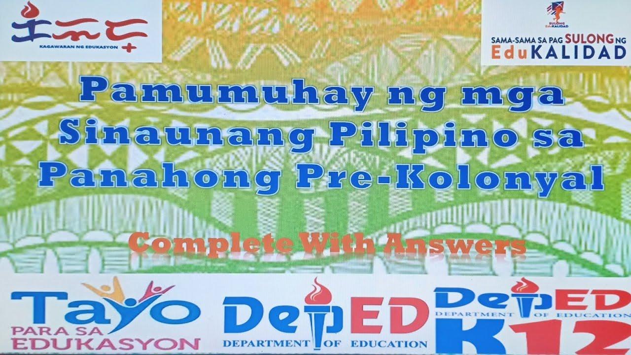 Download Araling Panlipunan 5 Week 4 Pamumuhay Ng mga Sinaunang Tao sa Panahong Pre-Kolonyal