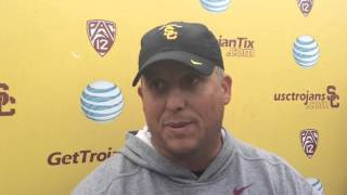 FightOn247 Video: Clay Helton USC Spring Practice No. 11