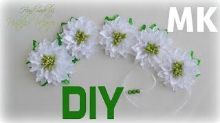 МК Лента в косу на изумрудную свадьбу. DIY Kanzashi Ribbon Braid Flower tutorial