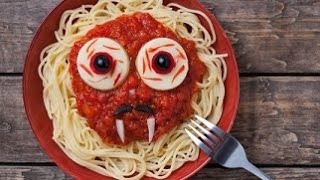 Итальянская кухня. Веселые спагетти на Хэллоуин.