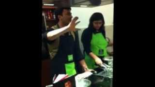 Vikas Khanna Demonstrating His Crispy Okra Salad With Dried Mango Strips.avi