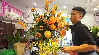 Dạy Cắm Hoa Mở Shop (Tập 10) - Cắm Hoa Kệ Chúc Mừng Khai Trương Tone Cam