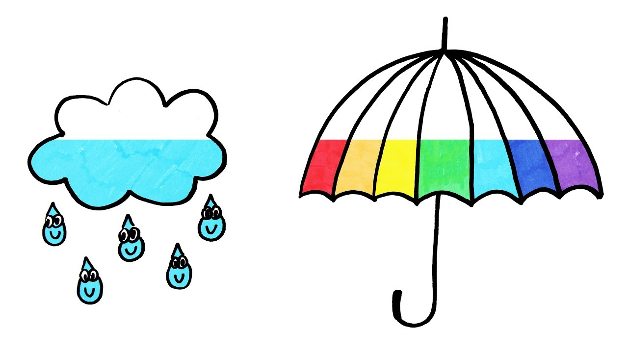 How to Draw Rainbow Umbrella and Rain Cloud Coloring Page | Learn ...