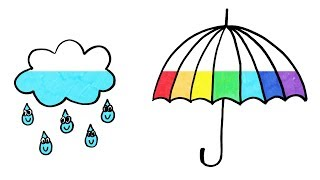 How to Draw Rainbow Umbrella and Rain Cloud Coloring Page | Learn Colors For Girls and Kids