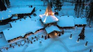 Villaggio di Babbo Natale veduta aerea: Lapponia Finlandia Rovaniemi renne di Santa Claus polo norte