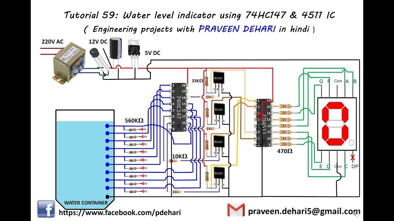 water level indicator using 74hc147 4511 ic tutorial 59 youtube rh youtube com
