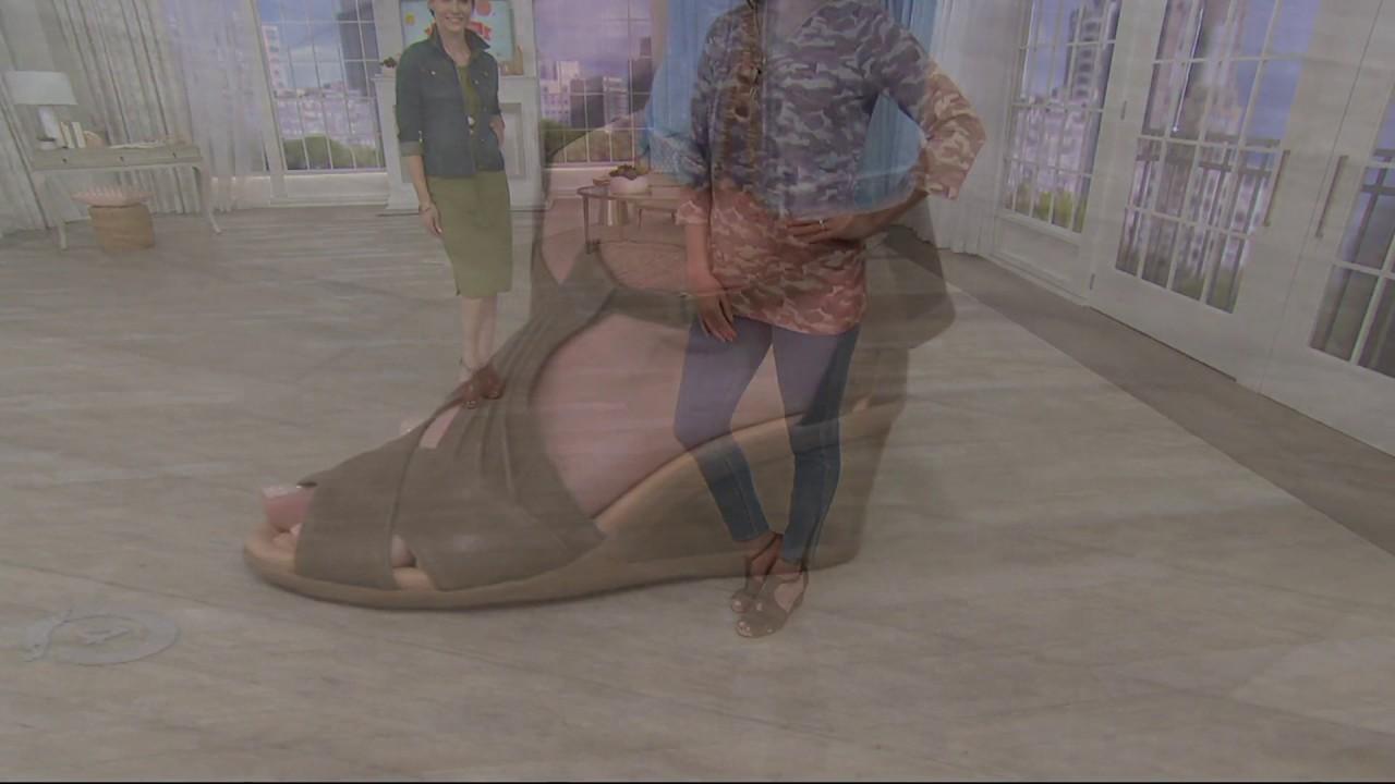 51bba92e0ecc Earth Suede Peep-toe Wedge Sandals - Curvet on QVC - YouTube