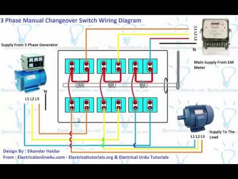 3 phase manual changeover switch wiring diagram generator rh youtube com Whole House Transfer Switch Diagram Gen Transfer Switch Wiring Diagrams