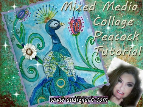 #PawGustArt  - Peacock Painting Tutorial  #Painting #Collage #MIxed Medi