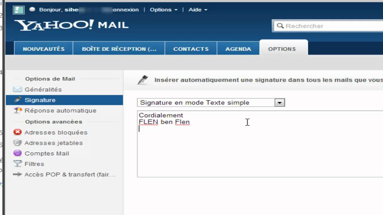 comment signer un email yahoo
