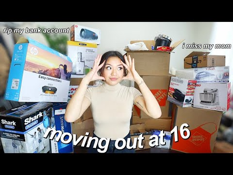 MOVING INTO MY NEW HOUSE ALONE AT 16  (i spent way too much money) | vlog #3