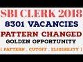 SBI Clerk Recruitment 2018 - 8301 Vacancies [Golden Opportunity ] Pattern Changed