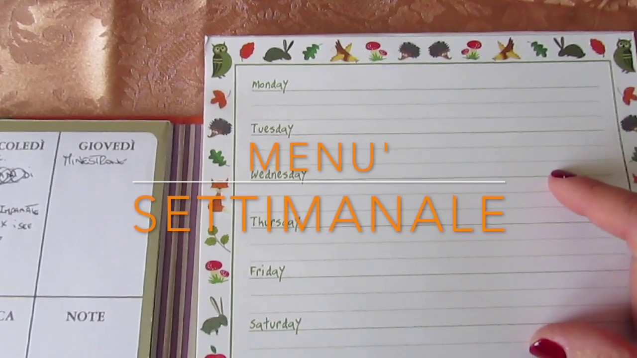 Menu Settimanale Sano Ed Economico menu' settimanale - un metodo del risparmio economico