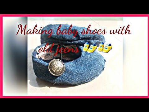 DIY Making baby shoes with old jeens 👟….//simple stitching & Crafts by Anu ❤😊