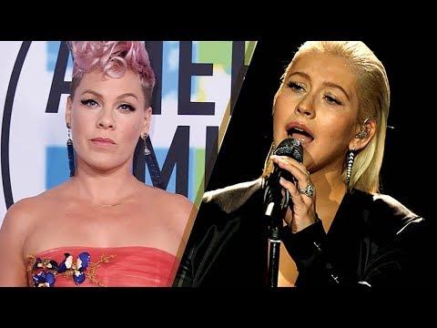 Pink Says She Was NOT Shading Christina Aguilera's 2017 AMAs Whitney Houston Tribute