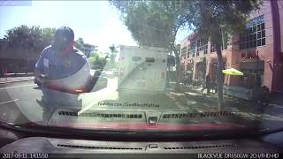 Aggressive meter maid BLOCKS MY CAR FROM LEAVING, because he did no have all my info.