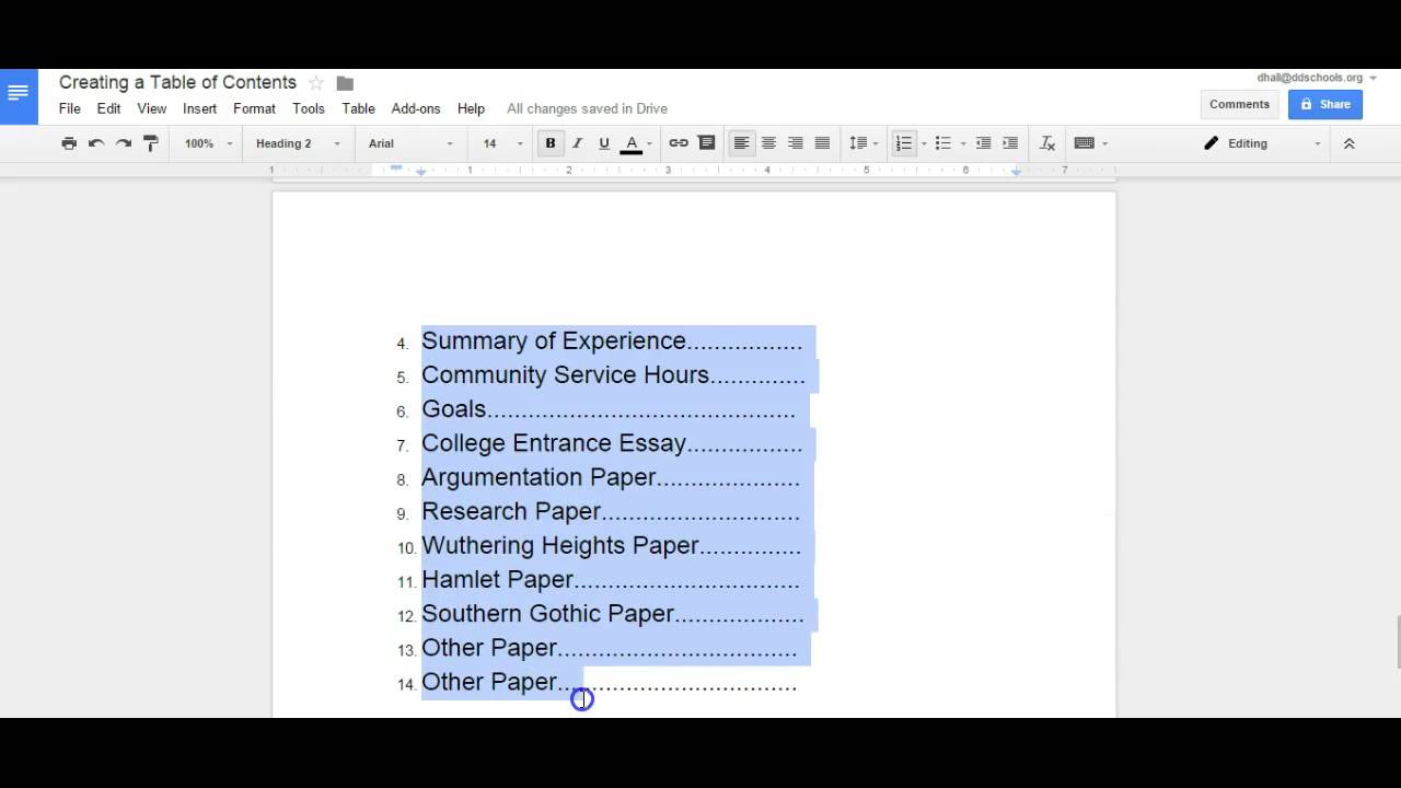 creating a table of contents in a google doc