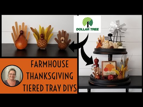 Farmhouse Thanksgiving Tiered Tray DIYS~Dollar Tree Fall Decor~Farmhouse Dollar Tree DIYS
