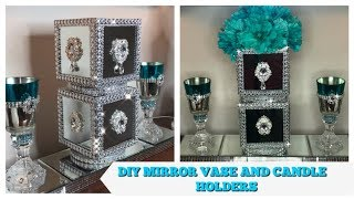 DIY Dollar Tree Glam Mirror  Vase | Plus Diy Candle Holders