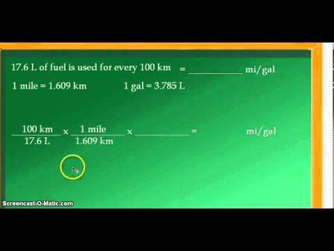 Unit Conversion: 17.6 liters per 100 kilometers (L/100 km) converted to  miles per gallon (mpg)
