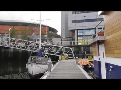 I walk the Boardwalk round Belfast Harbour Marina