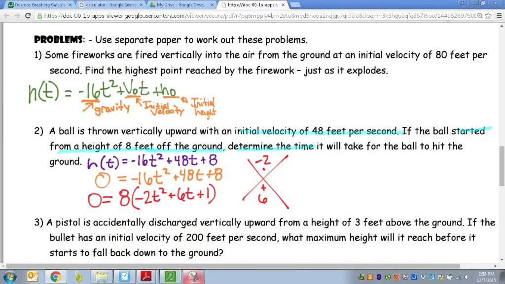 Common Core Math: Projectile Motion Quadratic Modeling Example - YouTube